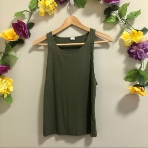 Streetwear Society Olive Green Ribbed Tank Top